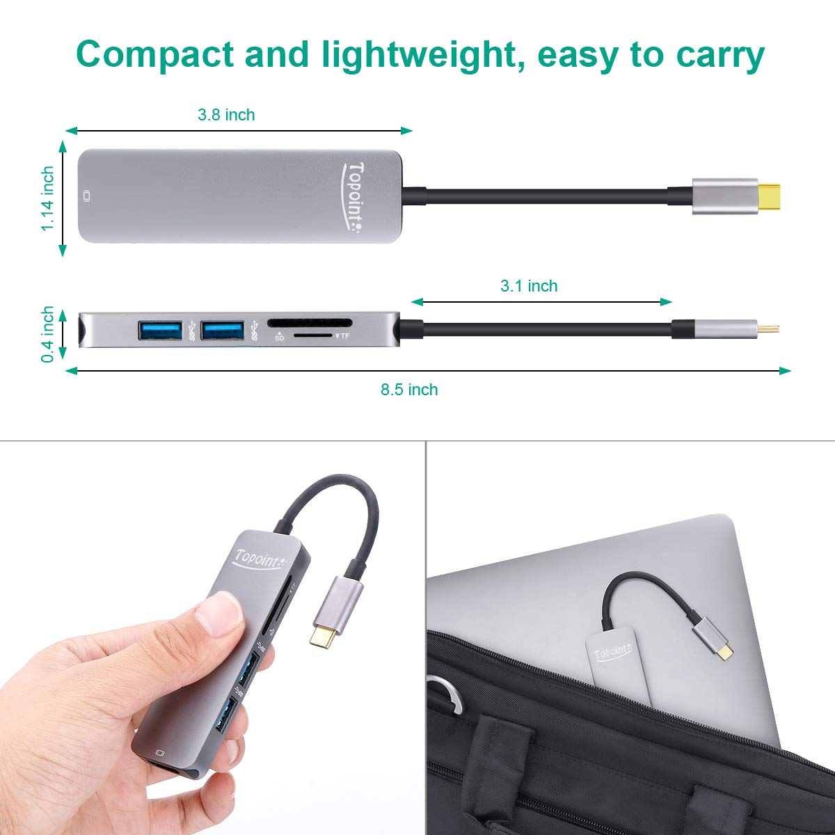 WU-MINGLU USB C Hub,5 in 1 Thunderbolt 3 auf HDMI 4k Adapter mit 2 USB 3.0 SD/TF Kartenleser,Typ C Konverter für MacBook/MacBook Pro 2018/2017/2016/2015,Samsung S8/S9,Dell XPS,Acer
