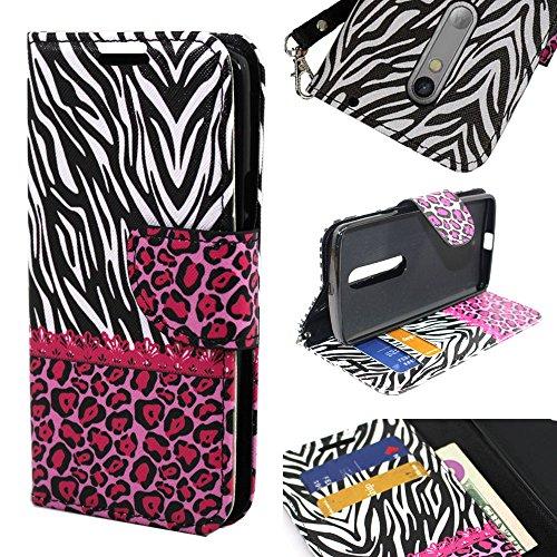 Droid Maxx 2 Case, Moto X Play Case, SOGA® [Pocketbook Series] PU Leather Magnetic Flip Design Wallet Case for Motorola Droid Maxx 2 XT1565 / Moto X Play XT1562 - Pink Leopard Cheetah Zebra