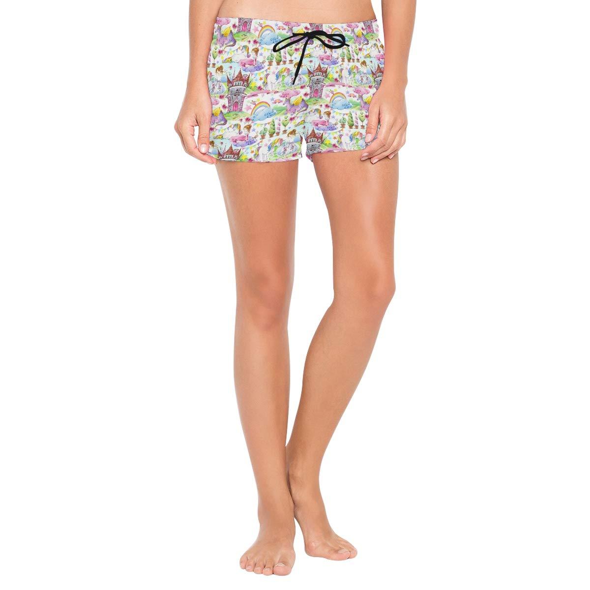 Womens Castle Princess Unicorn Rainbow Shorts Swimwear Running Shorts Beach Shorts for Women