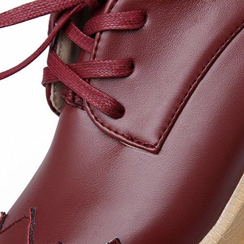 AllhqFashion Mujer PU Cordón Tacón Medio Material Suave Puntera Cuadrada ZapatosdeTacón Burdeos
