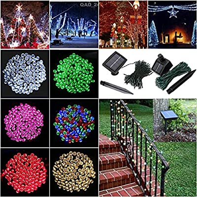 SOLMORE 55.8ft Solar Powered LED String Light, Ambiance Lighting, 100 LED Solar Fairy String Lights for Outdoor, Gardens, Homes, Christmas Party