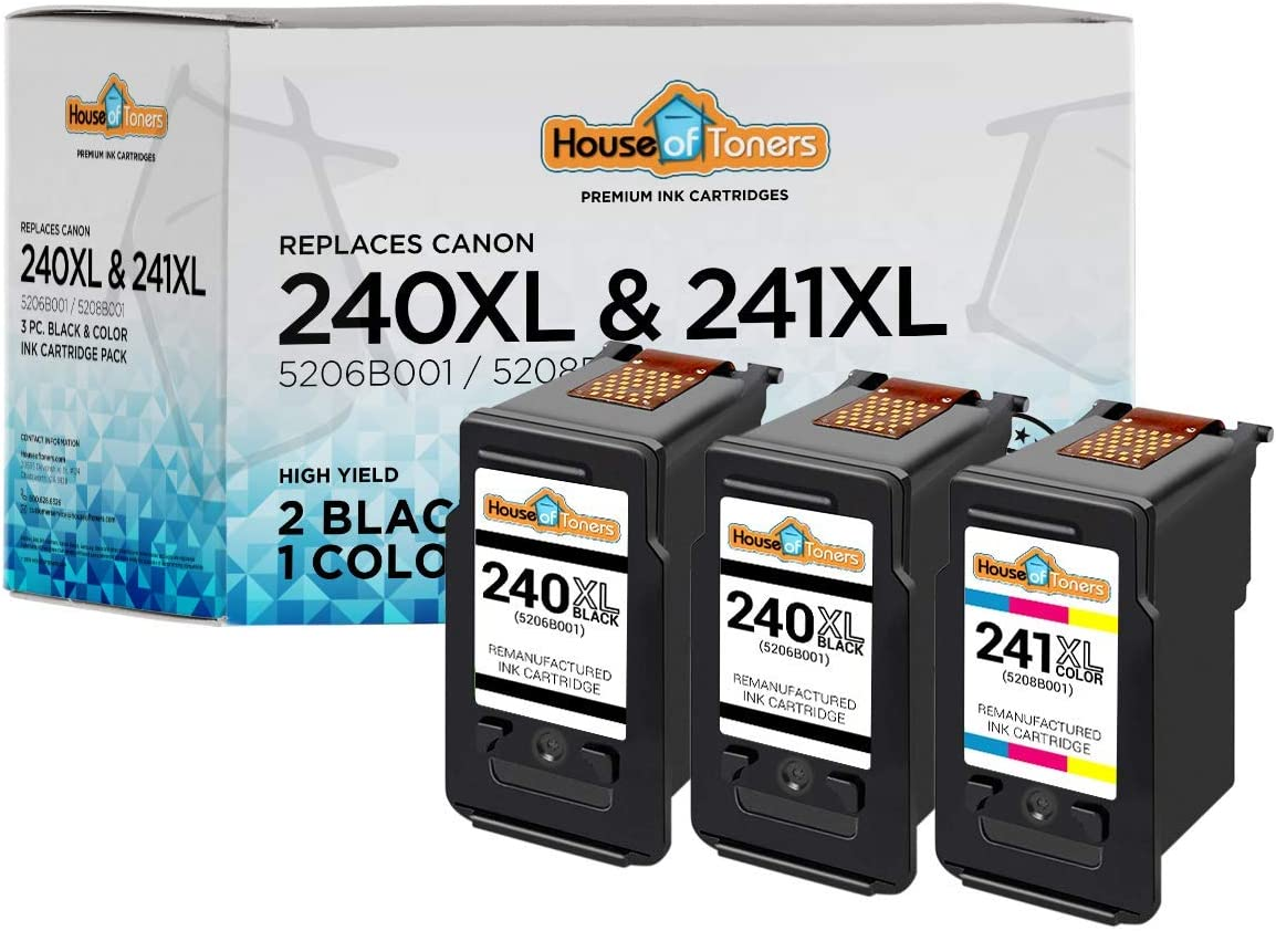 HouseOfToners Remanufactured Ink Cartridge Replacement for Canon PG-240XL /& CL-241XL 2 Black /& 1 Color, 3-Pack