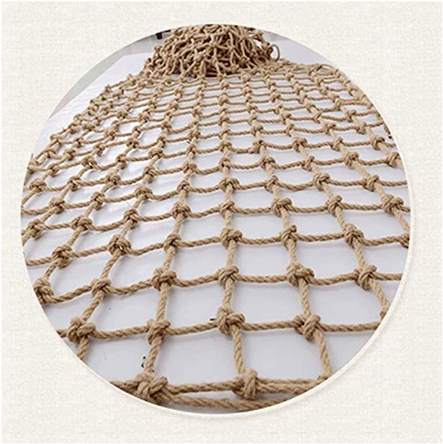 JFFFFWI Garden Netting Rope Net Rope Net Decor Net ,Balcony Stairs Decoration Retro Safety Durable Protection,Customizable (Color : Beige-15cm, Size : 2x4m)