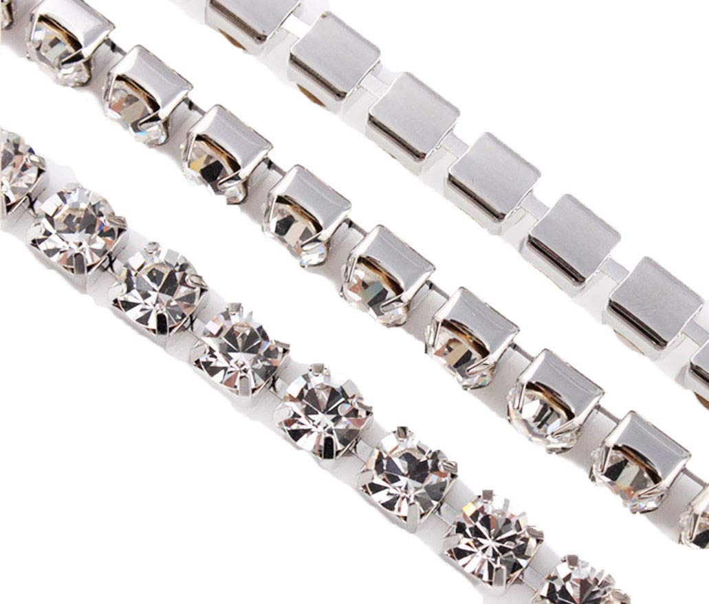 Onee To Eight 10 Yard Crystal Rhinestone Close Chain Clear Trim Sewing Craft Silver Color Various Size Available Extra Large (8mm)