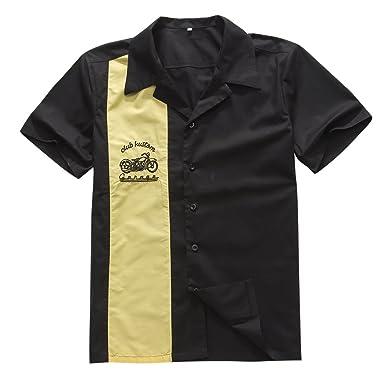 Candow Look Man Shirts Cotton Blackyellow Embroidery Shirt At