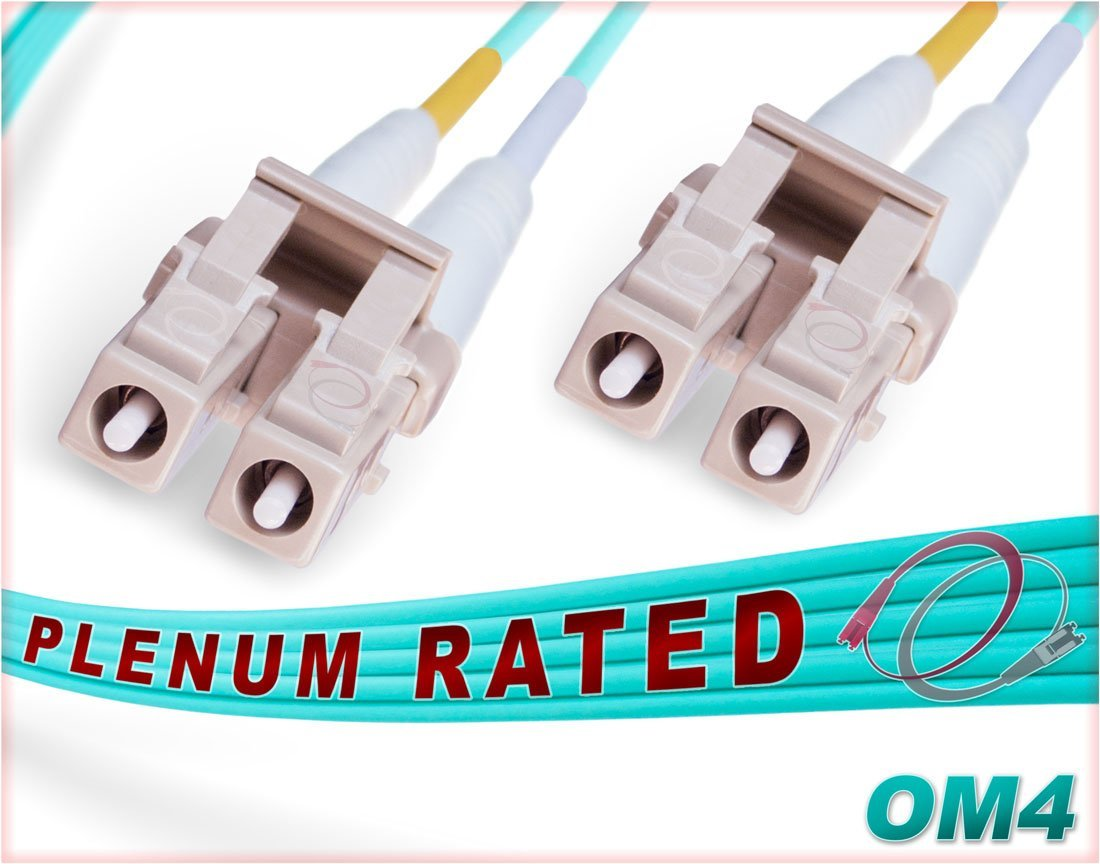 FiberCablesDirect - 3M OM4 LC LC Fiber Patch Cable | Plenum 100Gb Duplex 50/125 LC to LC Multimode Jumper 3 Meter (9.84ft) | Length Options: 0.5M-300M | Made In USA | ofnp 10g 40g 100g mm dx om4-lc-lc