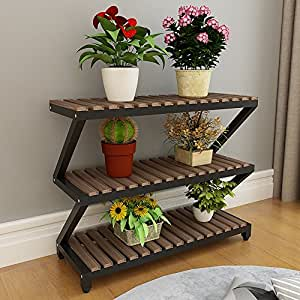 Shelves Carbonized Solid Wood Flower Balcony Balcony Flower Pots Preservative Wood Multi-storey Ladder Storage Rack Outdoor Green Plants ( Design : 6 )