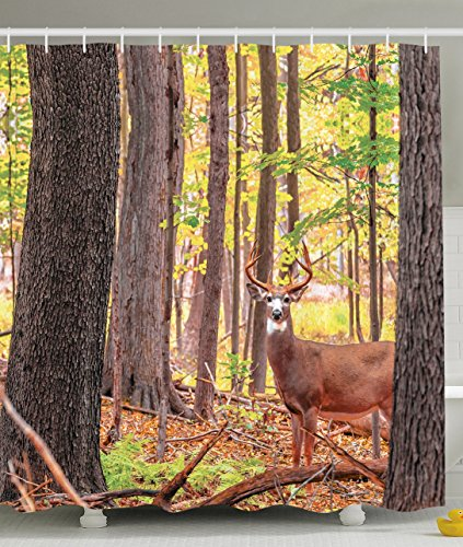 66 X 72 Inches · Deer Shower Curtain Whitetail Antlers Natural Forest  Decorations By Ambesonne, Polyester Fabric Bathroom Shower Curtain