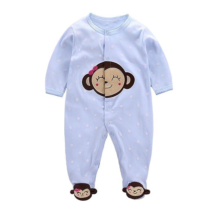 Bebé Niños Pijama de Algodón Pelele Mameluco de Manga Larga Caricatura Trajes, 0-3 Meses: Amazon.es: Bebé