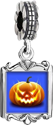 Jack-O-Lantern Pumpkin Halloween Dangle Charm for Silver European Bead Bracelets Fashion Jewelry for Women Man