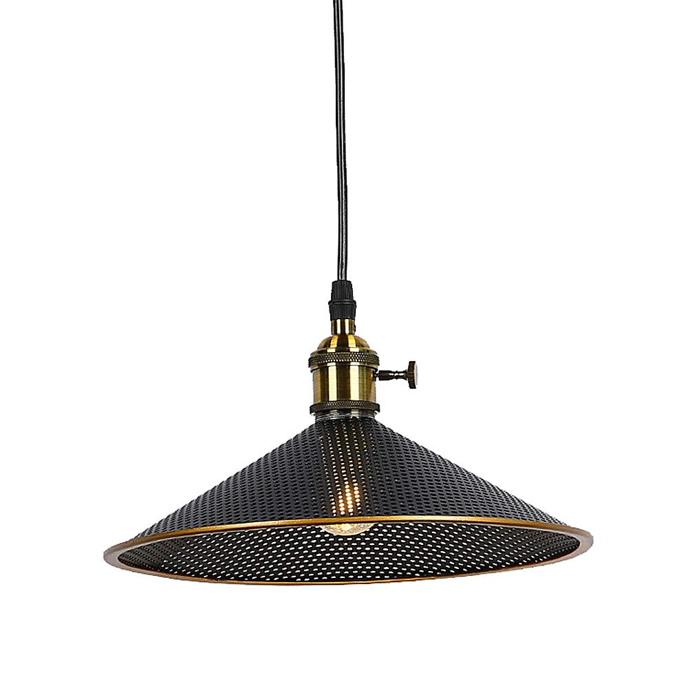 Ladiqi Vintage Pendant Light Hanging Barn Chandelier Lighting Fixture with Conical Wire Mesh Shade for Dining Room Restaurant Cafe