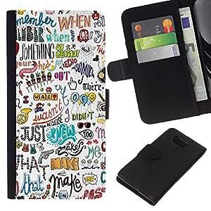 Planetar® Modelo colorido cuero carpeta tirón caso cubierta piel Holster Funda protección Para Samsung ALPHA / SM-G850 / S801 ( Writing Fun Art Hand Drawn )