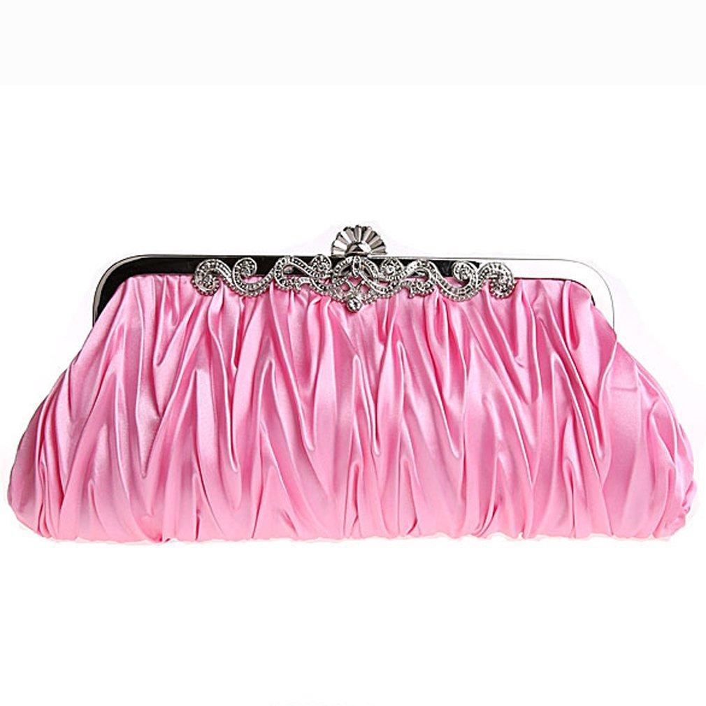 Belsen Women's Wedding Kiss Lock Pleated Satin Evening Bags (Pink)