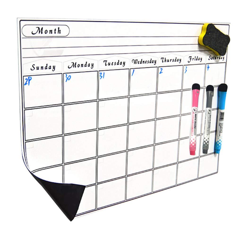 Lavagna bianca magnetica cancellabile a secco per piano settimanale/piano mensile/foglio memo vuoto A3 - Bonus: 3 pennarello cancellabile a secco e cancellino yibaii