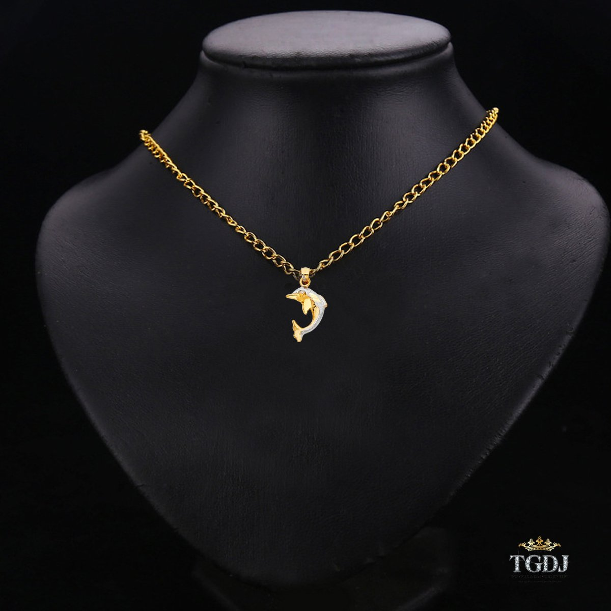 14K Yellow White Dolphin Pendant Height 20 MM Width 15 MM
