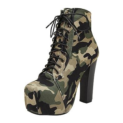 DULEE Fashion Army Camouflage High Heel Martin Stiefel Schuhe 40 nnshW53F6