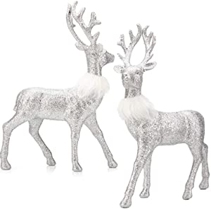 SANNO Glitter Reindeer Decorations Christmas Deer Decor Holiday Reindeer Figurines Standing Silver Glitter Indoor Decorative Ornaments for Indeer Winter Decor