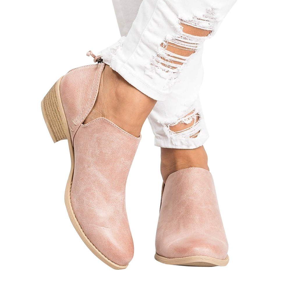 Blivener Women's Ankle Booties Cut Out Chunky Heel Slip on Boots Pink EU38