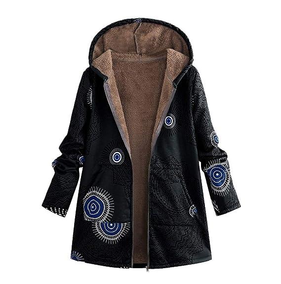 75b4ad9b413 FNKDOR Manteau à Capuche Femmes Grande Taille Hiver Chaud Veste en Coton  Lâche Poches Rétro Fleurs