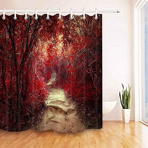 BdhBHDuio Shower Curtain Hook Waterproof Fabric Fantasy Tropical Jungle Forest Tunnel Path Shower Curtain Bath Shower Bathroom Accessories