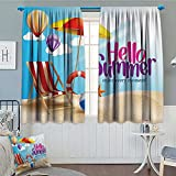 Lifestyle Decor Waterproof Window Curtain Hello Summer Enjoy Every Moment Quote with Sandy Beach Umbrella Holiday Design Blackout Draperies For Bedroom 84″x84″ Multi Review