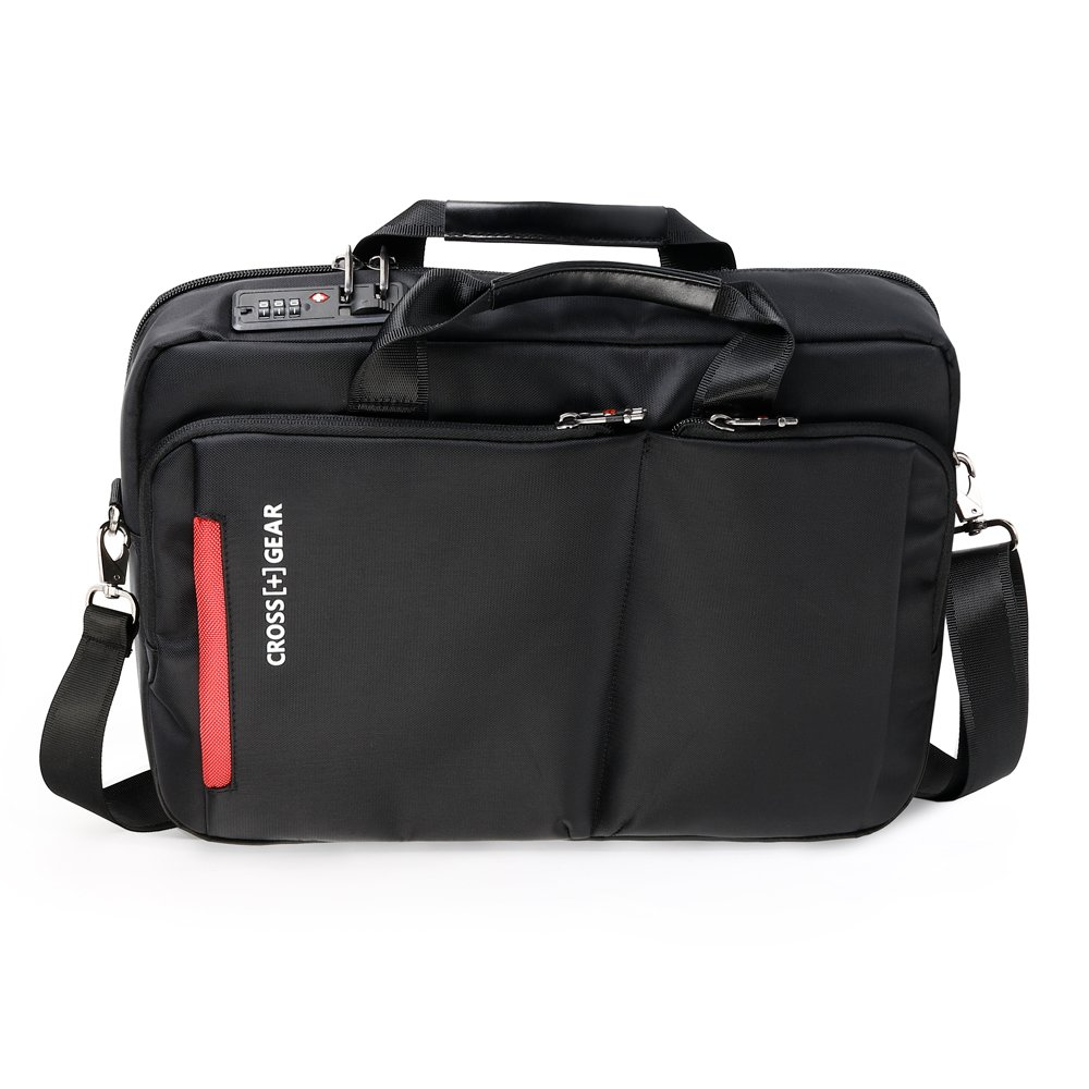 CrossGear Briefcase with Combination Lock Anti Theft Business Office Bag Laptop Sleeve case,for Men Women CR-2803BK Black by CROSSGEAR