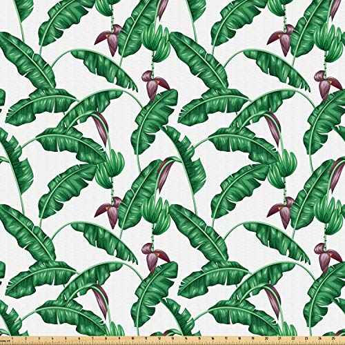 Ambesonne Banana Leaf Fabric by The Yard, Lush Jungle Leafage Flowering Stems of Island Tree Hawaiian Aloha Pattern, Microfiber Fabric for Arts and Crafts Textiles & Decor, 3 Yards, Green Plum White
