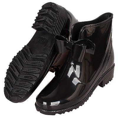CCZZ Womens Rain Boots Anti Slip Short Rain Shoes Waterproof Rubber Work Garden Ankle Booties Black Red Blue 36-43 EU | Ankle & Bootie