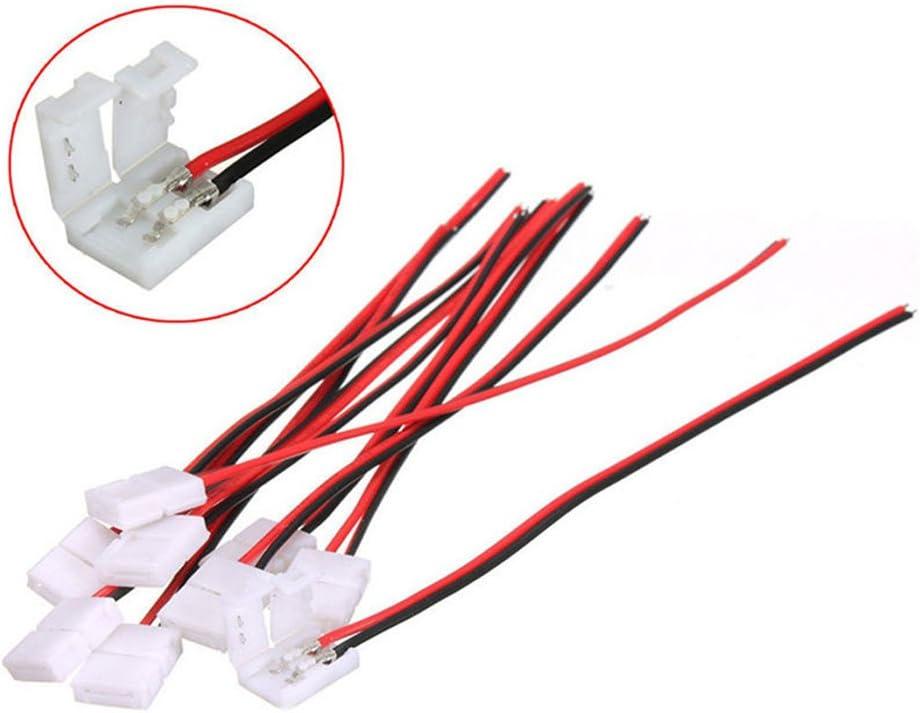 10x 8mm LED PCB 3528 Schnellverbinder Adapter 2Pins Stecker für Strip
