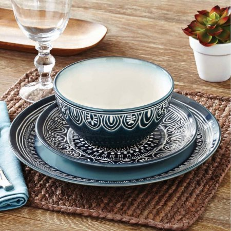 (Better Homes and Gardens Teal Medallion 12-Piece Dinnerware Set, Teal)