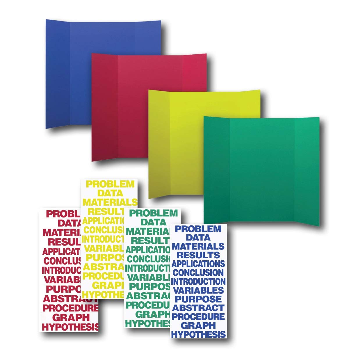 Pack of 24 Project Board Kits - Board, Header, Primary Color Letters, Numbers, Characters and Science Titles (36x48in) by Flipside