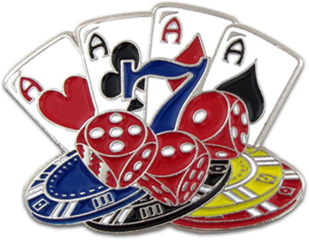PinMart Playing Cards, Dice and Poker Chips Lapel Pin 1