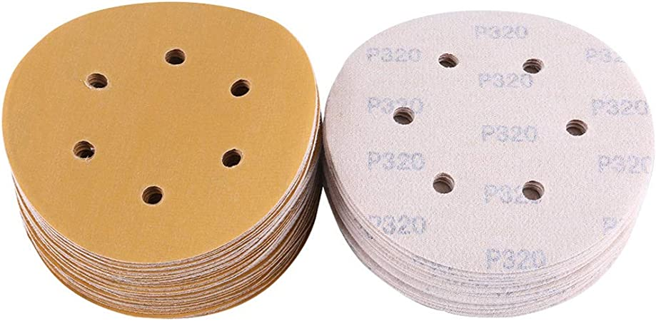 "100 Pack 6/"" Inch 6 Holes 80 Grit Hook /& Loop Sanding Discs Orbital DA Disks"