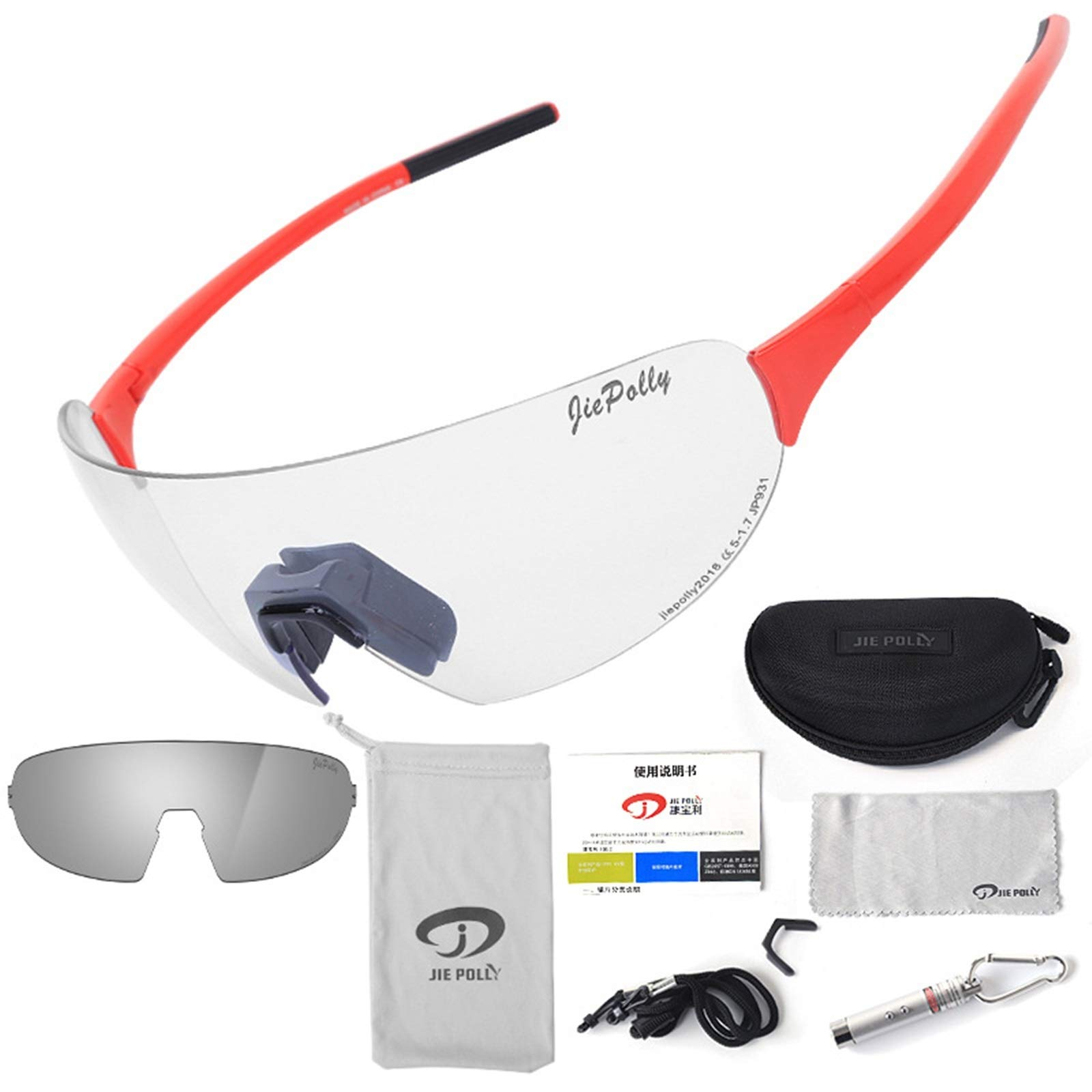 Adisaer Winter Cycling Glasses Outdoor Sports Riding Color-Changing Glasses Men and Women Running Fishing Bicycle Windproof Polarized Glasses Red Upgrade 1 for Adults
