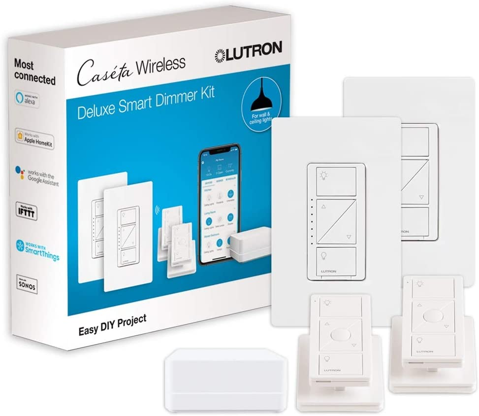 Lutron Caseta Wireless Smart Light Dimmer Switch (2 Count) Starter Kit with Pedestals for Pico Wireless Remotes, Works with Alexa, Apple HomeKit, and the Google Assistant | P-BDG-PKG2W, White