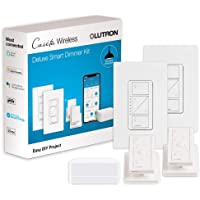 Lutron Caseta Wireless Smart Light Dimmer Switch (2 Count) Starter Kit with Pedestals for Pico Wireless Remotes, Works…