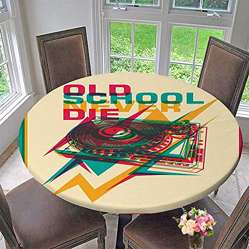 Mikihome Chateau Easy-Care Cloth Tablecloth Pop Art Style School Record Player Turntable with Zigzags Party for Home, Party, Wedding 63