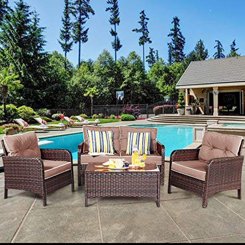 (Tangkula 4 PCS Patio Furniture Set, Outdoor Rattan Wicker Sofa Comfortable Cushioned Seat, Garden Lawn Sectional Conversation Set with Glass Top Coffee Table (Coffee Cushion))