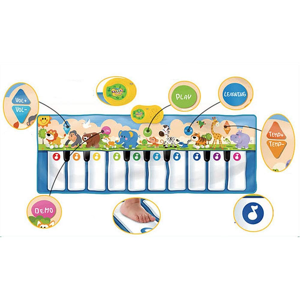 Play Keyboard Mat 53 Inches 10 Keys Giant Jumbo Sized Musical Keyboard Playmat With Record Playback Demo Play Learning Adjustable Vol Foldable Floor Keyboard Piano Dancing Activity Mat Step And Play I by GAOCAN-gq (Image #2)