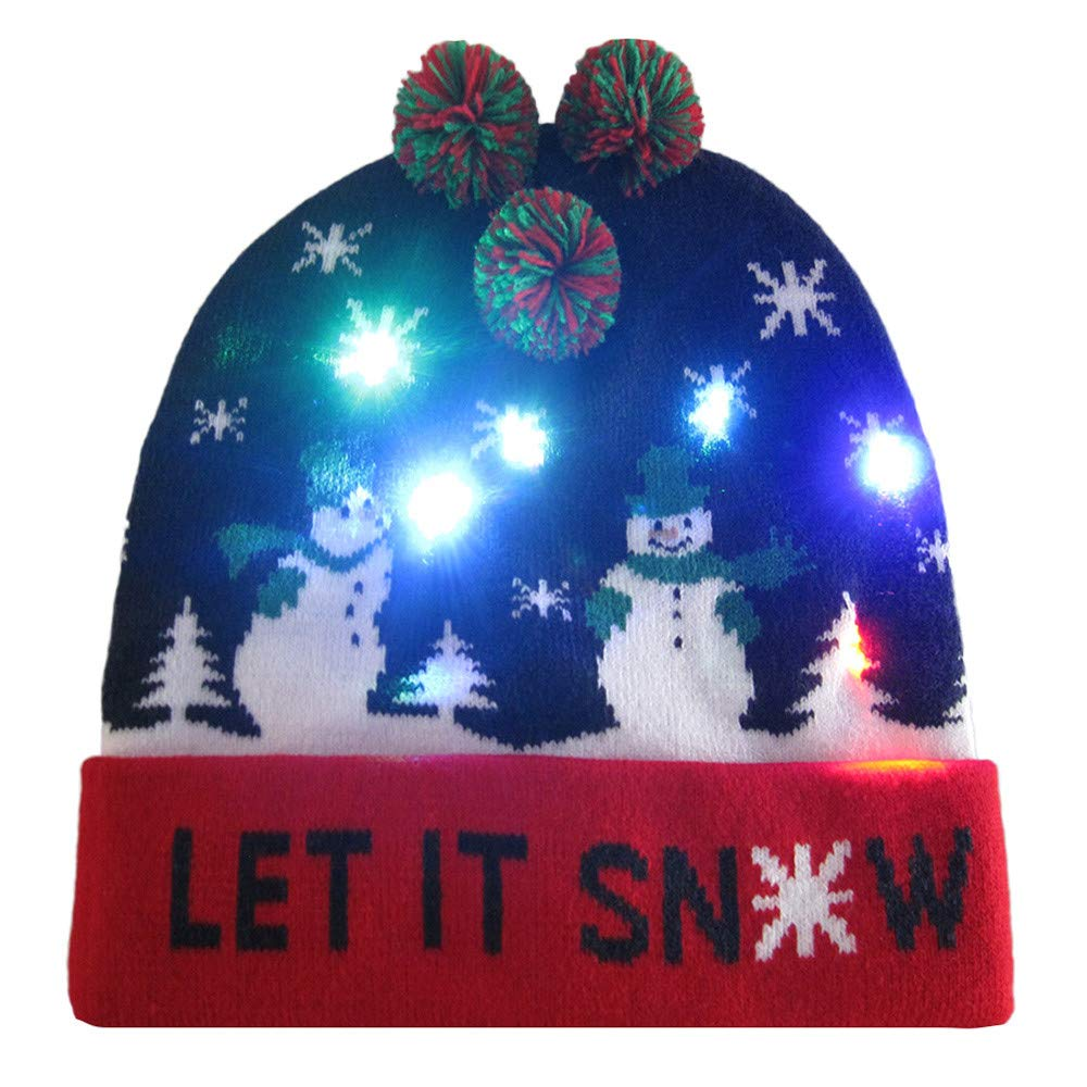 f22cb9e19 GzxtLTX Ugly Christmas Hat LED Light-up Knitted Beanie with Pom Pom Holiday  Party Funny Gifts Unisex Men Women