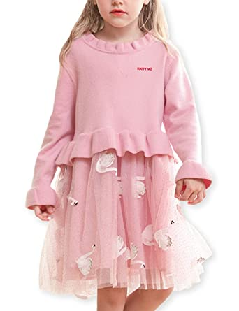 868411bc3 Amazon.com: Girls Long Sleeve Knitted Tulle Printed Puff Princess Dress:  Clothing