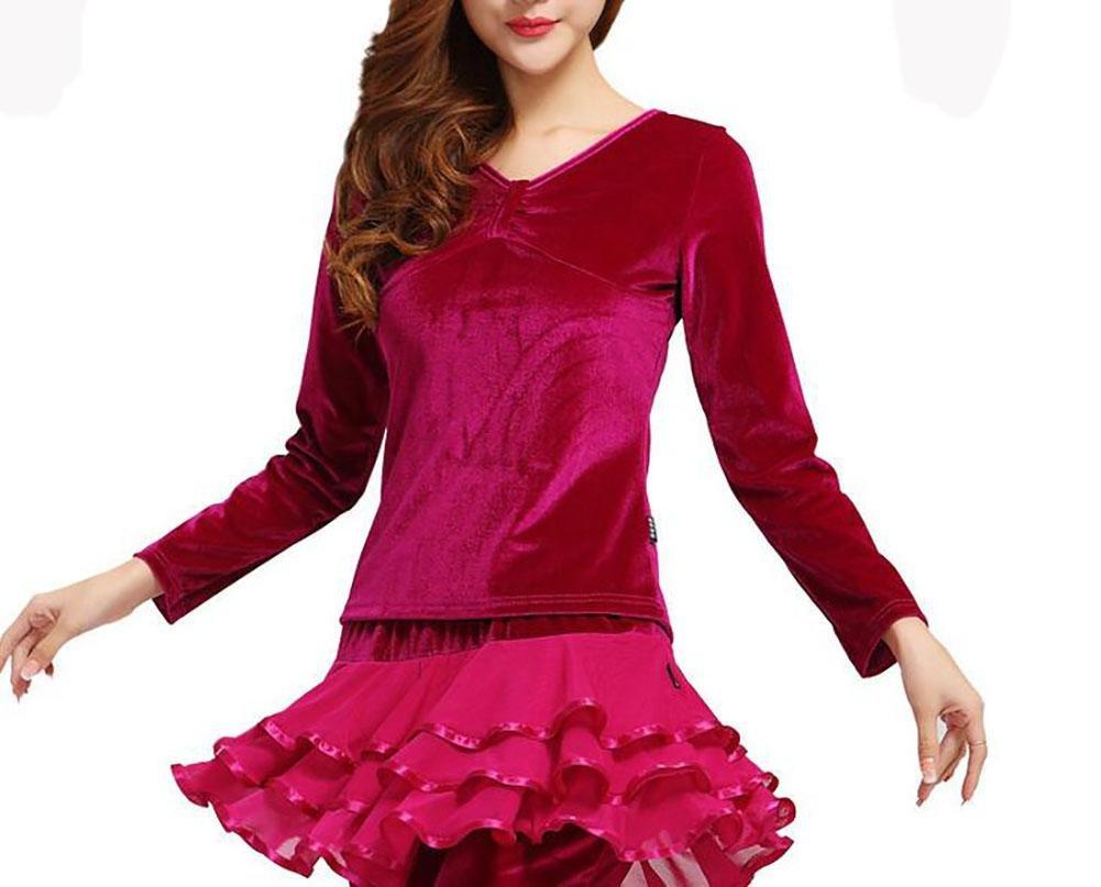 XQX Women's Autumn And Winter Square dance clothing Set Gold velvet Skirt pants