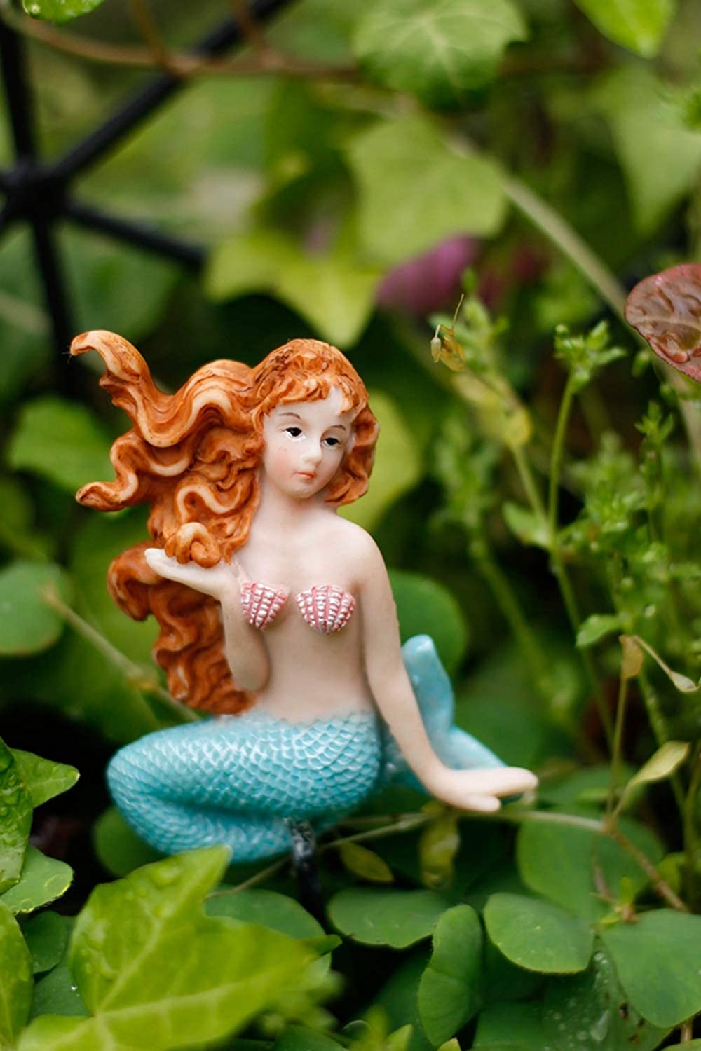 Colored MUAMAX Mini Mermaid Garden Stakes Miniature Fairy Ornaments Outdoor Planter Flower Decoration Pottery Decorative accessories Gardening Gifts