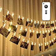 30 LED Photo Clips Remote String Lights, Wedding Party Christmas Decor for Hanging Photos, Cards, Memos with 8 Modes Choice, 16.4 ft Battery Powered