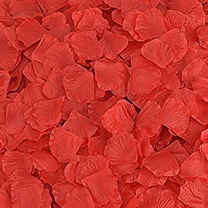 Rose Petals 300 Count Fabric Artificial Fabric Flower for Valentine Ceremony Wedding or Home Hotel Garden Bouquet Party Decorations (Red) 98