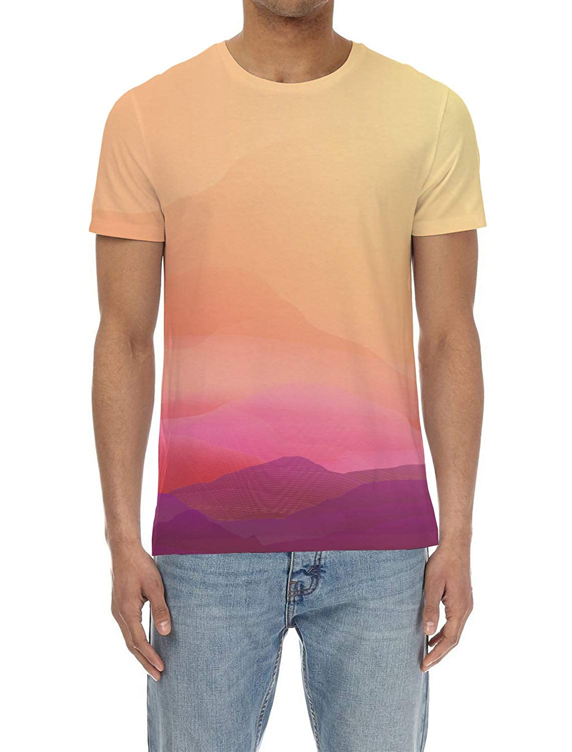 EZON-CH Mens Short-Sleeve Crewneck T-Shirt,Assorted Fashion 3D Printing Male Blouse Tee Tops,Multicolor Ripple for Youth,