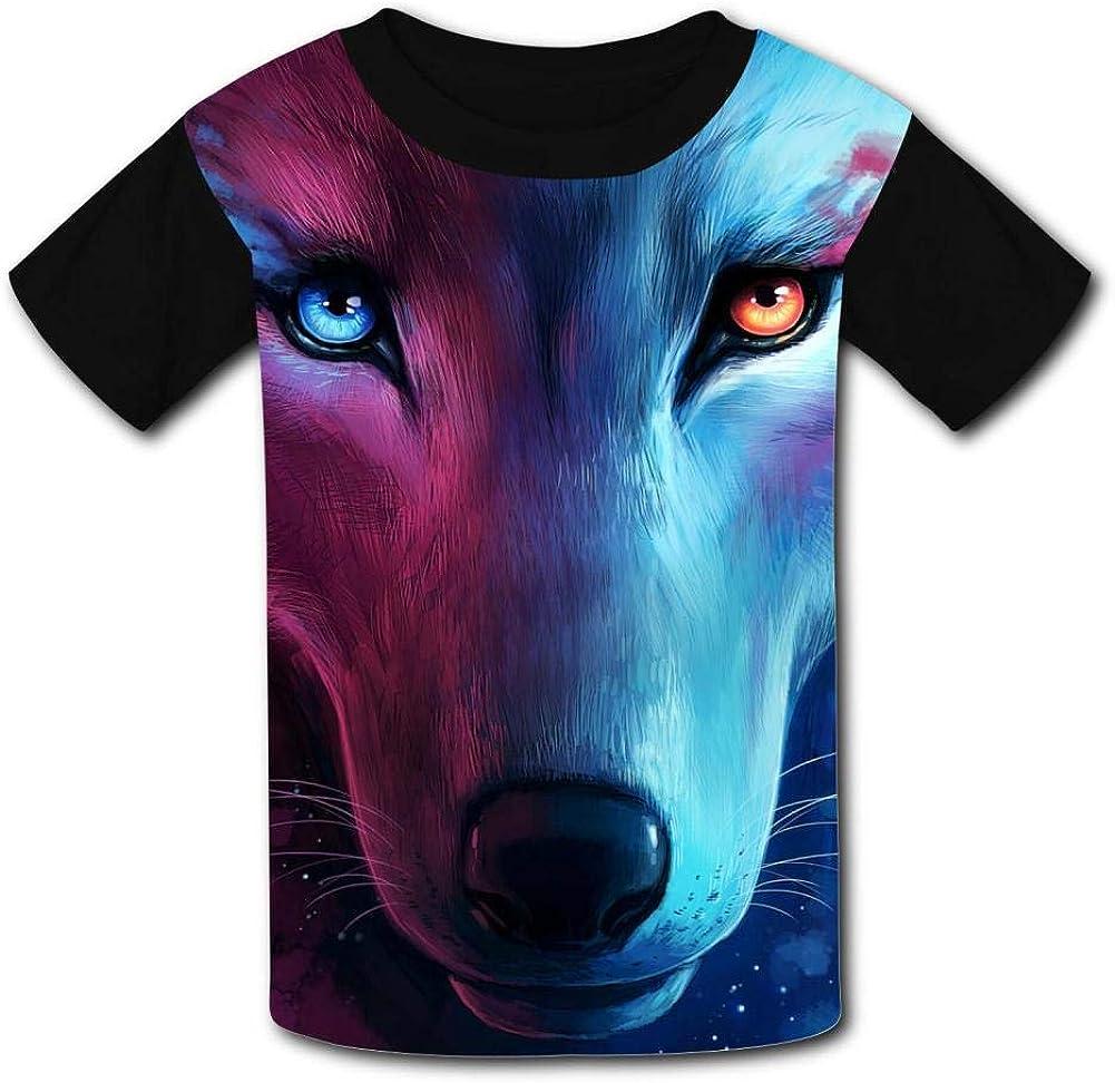 Elcacf Kids Fantasy Opposite Color Smoke Wolf Comfortable Print T-Shirts Short Sleeve Children Tees Funny Creative Boys Girls