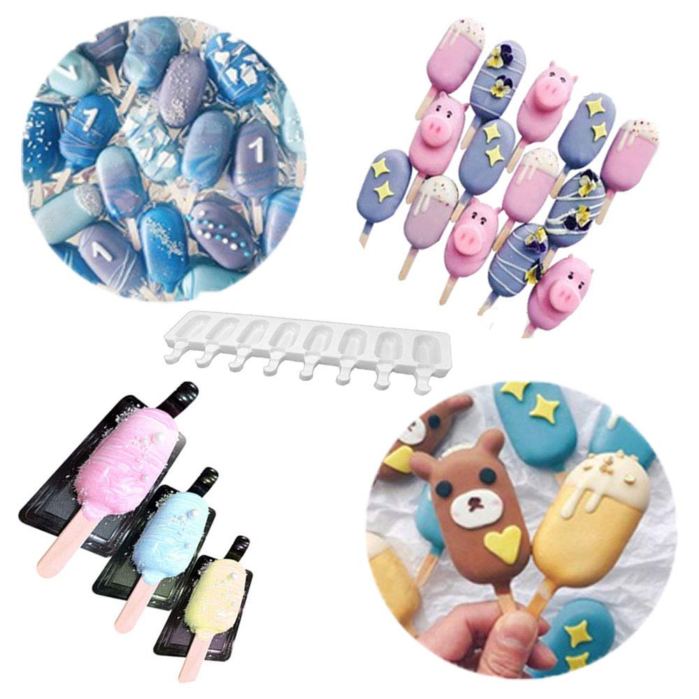Uhat 8 Cavities Mini Ice-Cream Silicone Bar Mould Maker Frozen Dessert Chocolate Cake Popsicle Tray