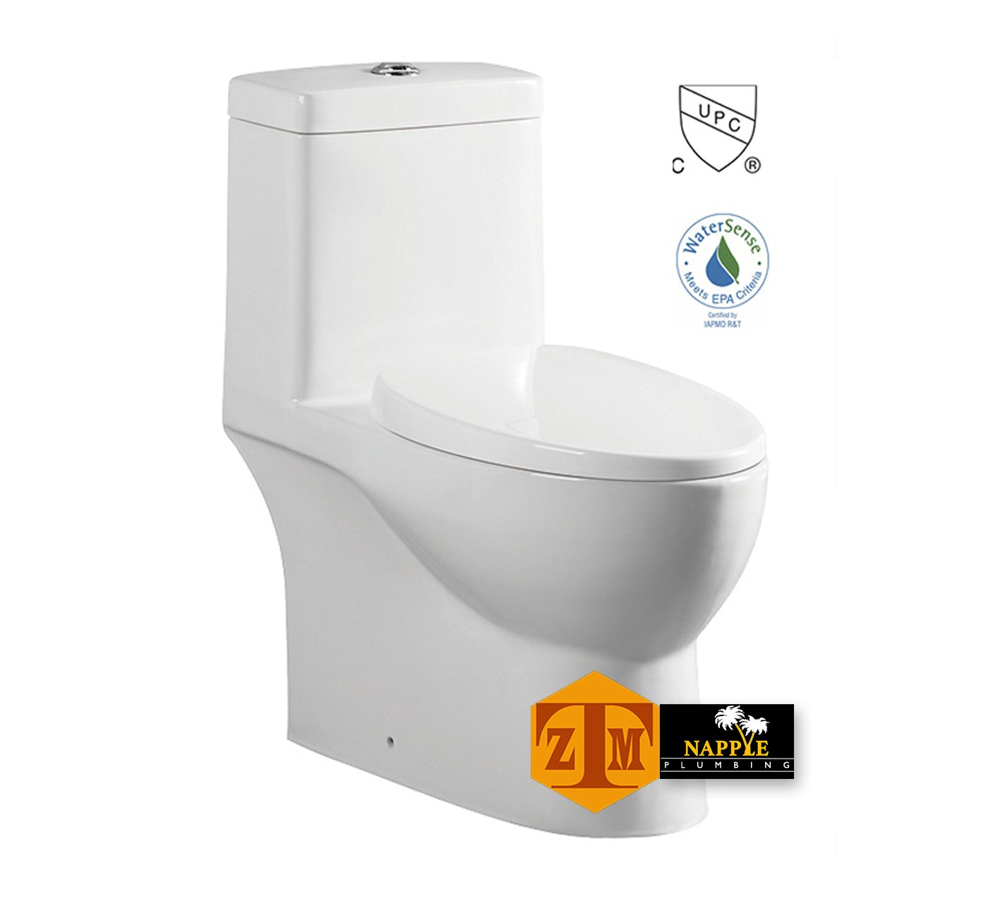 NAMY2137P Luxury SIPHONIC White Porcelain One-Piece Construction Toilet, With Round Seat and Comfort Height, A Siphonic High Efficiency Eco-Friendly Action w/ Dual Flush 1.6/1.0GPF, UPC Certified