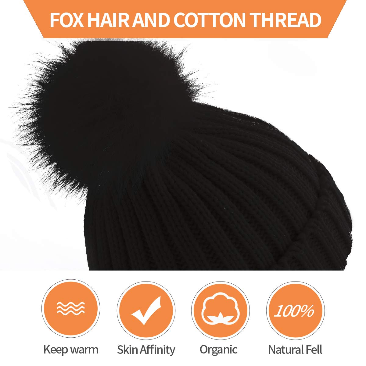 ElifeAcc Warm Winter Fur Hat Knitted Pom Pom Beanie Bobble Hats for Outdoor Camping Ski caps